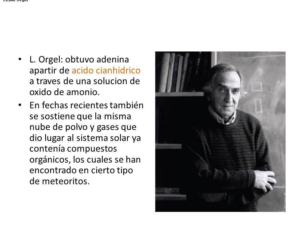 L. Orgel: obtuvo adenina apartir de acido cianhidrico a traves de una solucion de oxido de amonio. En fechas recientes también se sostiene que la mism