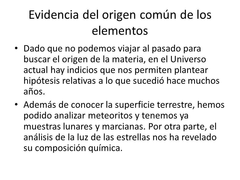 Dado que no podemos viajar al pasado para buscar el origen de la materia, en el Universo actual hay indicios que nos permiten plantear hipótesis relat