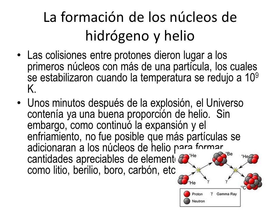 Las colisiones entre protones dieron lugar a los primeros núcleos con más de una partícula, los cuales se estabilizaron cuando la temperatura se reduj