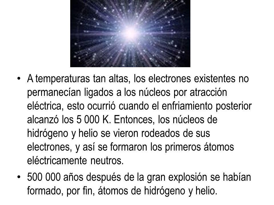 A temperaturas tan altas, los electrones existentes no permanecían ligados a los núcleos por atracción eléctrica, esto ocurrió cuando el enfriamiento