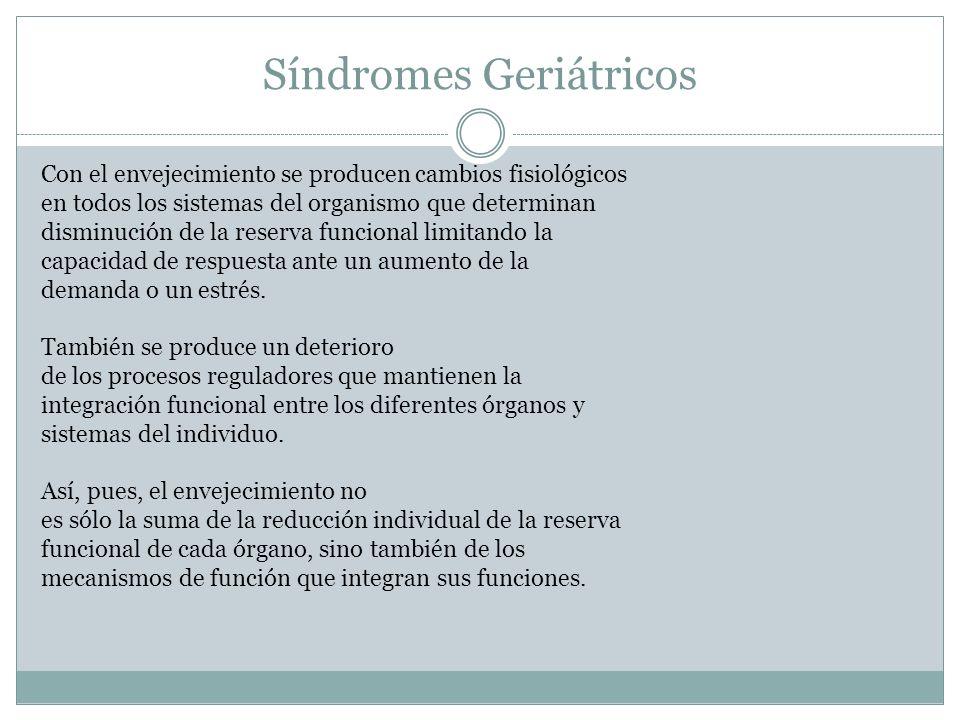 Síndromes Geriátricos Factores de riesgo: Edad extrema Déficit cognitivo Discapacidad Inmovilidad
