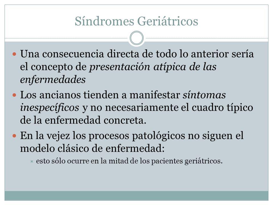 Síndromes Geriátricos Una consecuencia directa de todo lo anterior sería el concepto de presentación atípica de las enfermedades Los ancianos tienden