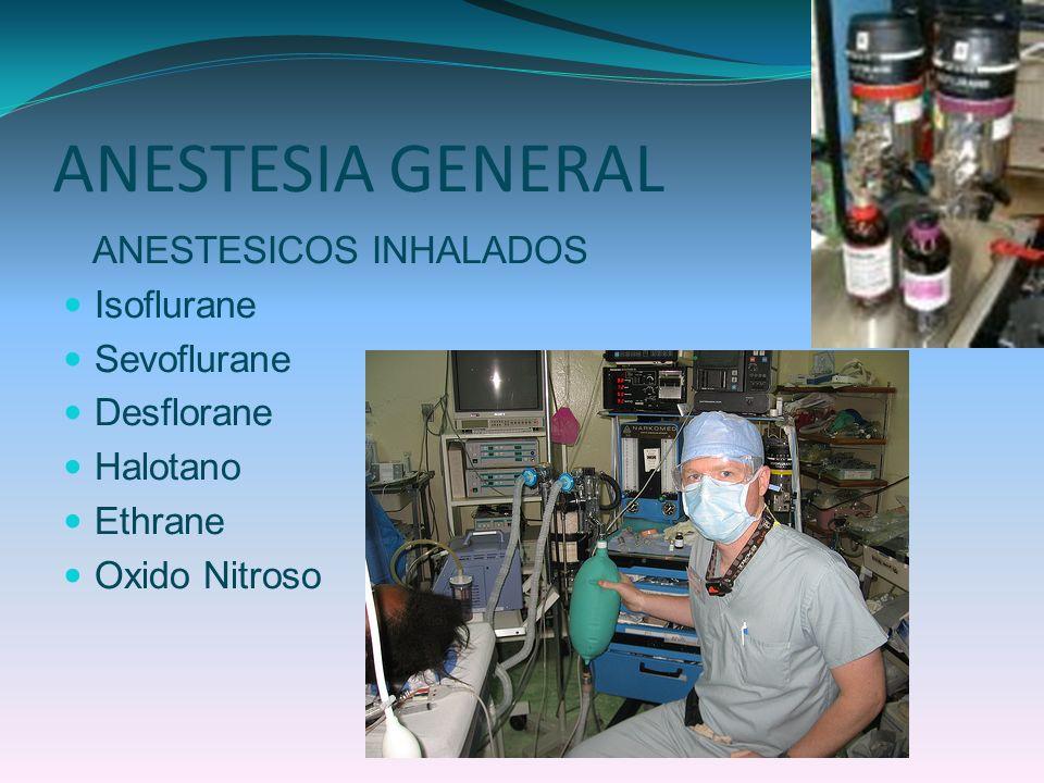 ANESTESIA GENERAL ANESTESICOS INHALADOS Isoflurane Sevoflurane Desflorane Halotano Ethrane Oxido Nitroso