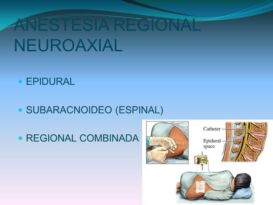 ANESTESIA REGIONAL NEUROAXIAL EPIDURAL SUBARACNOIDEO (ESPINAL) REGIONAL COMBINADA