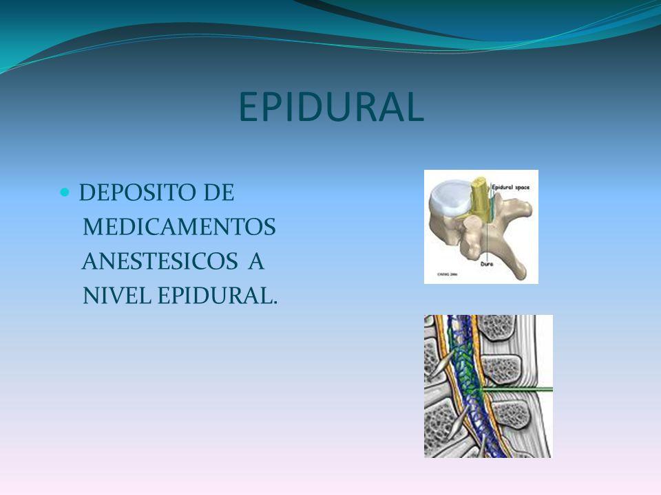 EPIDURAL DEPOSITO DE MEDICAMENTOS ANESTESICOS A NIVEL EPIDURAL.