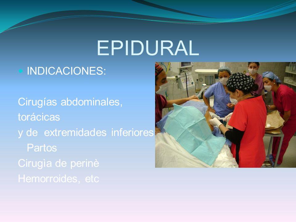 EPIDURAL INDICACIONES: Cirugías abdominales, torácicas y de extremidades inferiores. Partos Cirugìa de perinè Hemorroides, etc