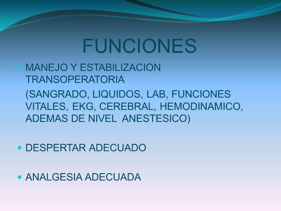 FUNCIONES MANEJO Y ESTABILIZACION TRANSOPERATORIA (SANGRADO, LIQUIDOS, LAB, FUNCIONES VITALES, EKG, CEREBRAL, HEMODINAMICO, ADEMAS DE NIVEL ANESTESICO