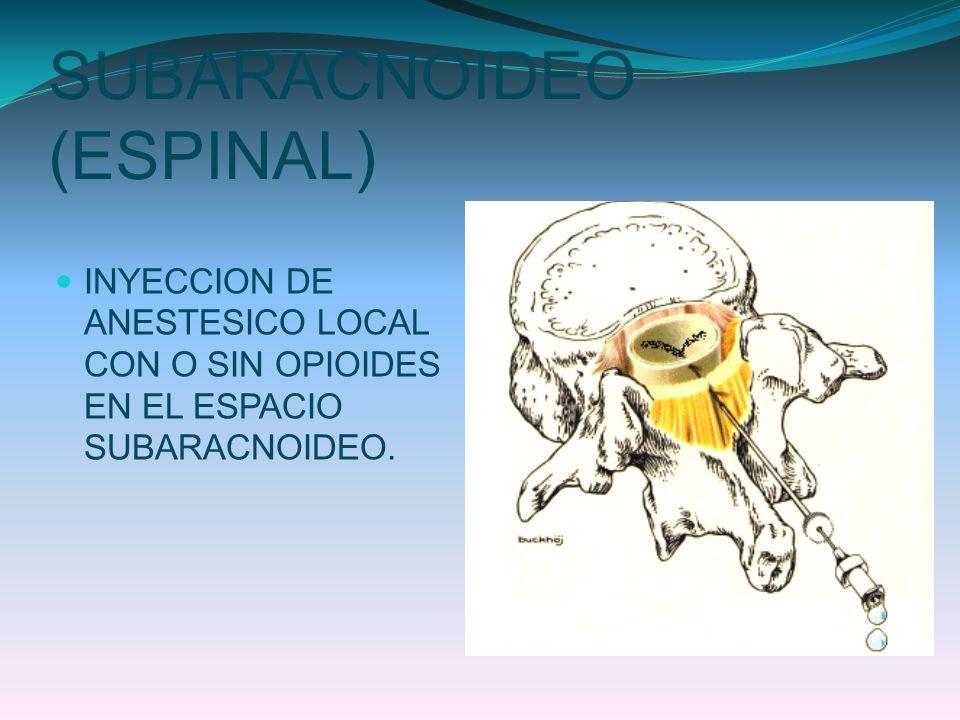 SUBARACNOIDEO (ESPINAL) INYECCION DE ANESTESICO LOCAL CON O SIN OPIOIDES EN EL ESPACIO SUBARACNOIDEO.