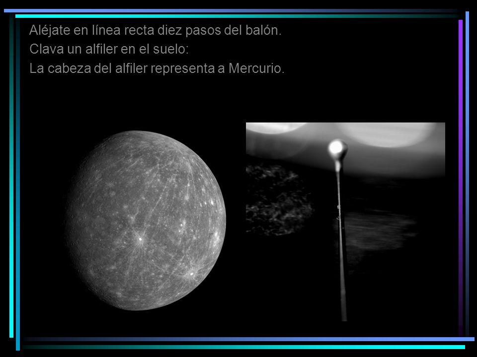Aléjate en línea recta diez pasos del balón. Clava un alfiler en el suelo: La cabeza del alfiler representa a Mercurio.
