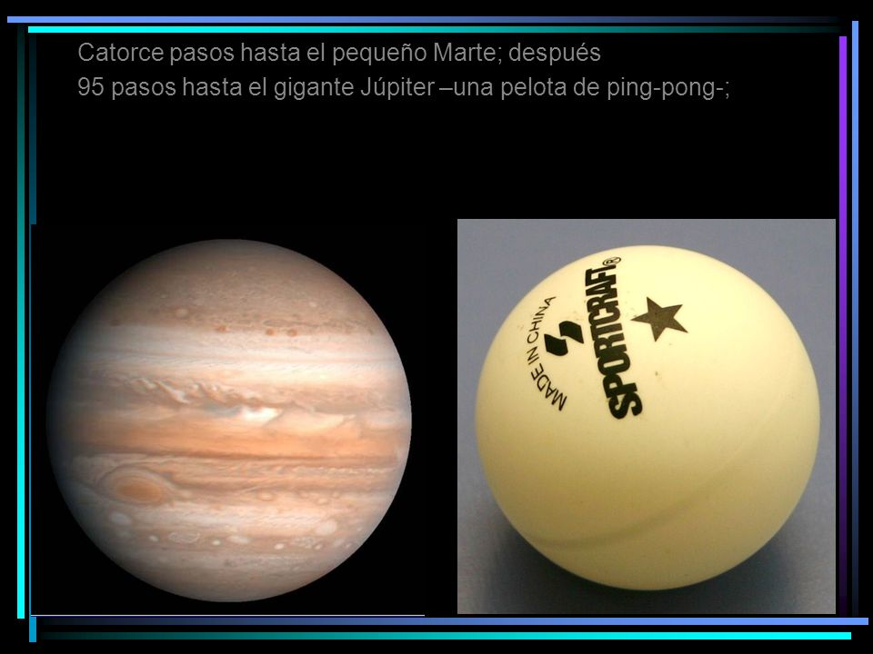 Catorce pasos hasta el pequeño Marte; después 95 pasos hasta el gigante Júpiter –una pelota de ping-pong-;