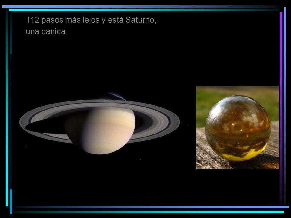 112 pasos más lejos y está Saturno, una canica.