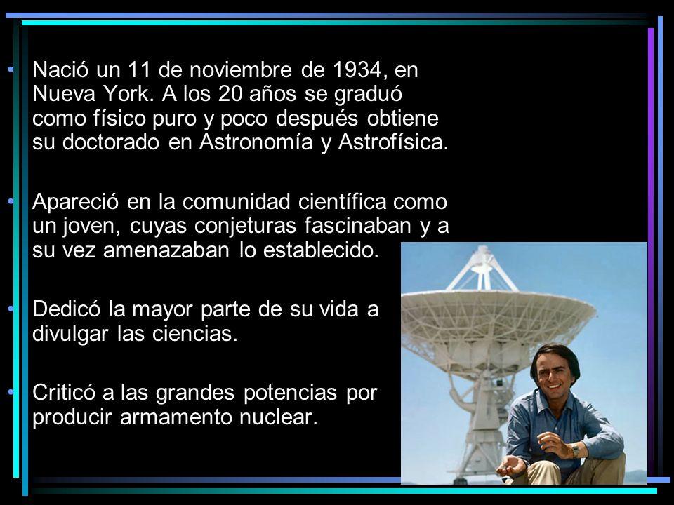 Nació un 11 de noviembre de 1934, en Nueva York. A los 20 años se graduó como físico puro y poco después obtiene su doctorado en Astronomía y Astrofís