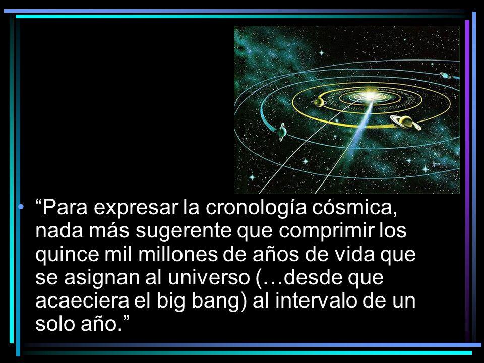 Para expresar la cronología cósmica, nada más sugerente que comprimir los quince mil millones de años de vida que se asignan al universo (…desde que a