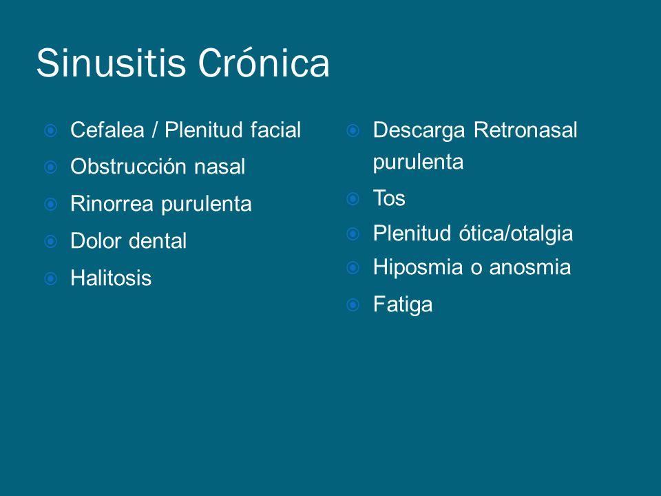 Sinusitis Crónica Cefalea / Plenitud facial Obstrucción nasal Rinorrea purulenta Dolor dental Halitosis Descarga Retronasal purulenta Tos Plenitud óti