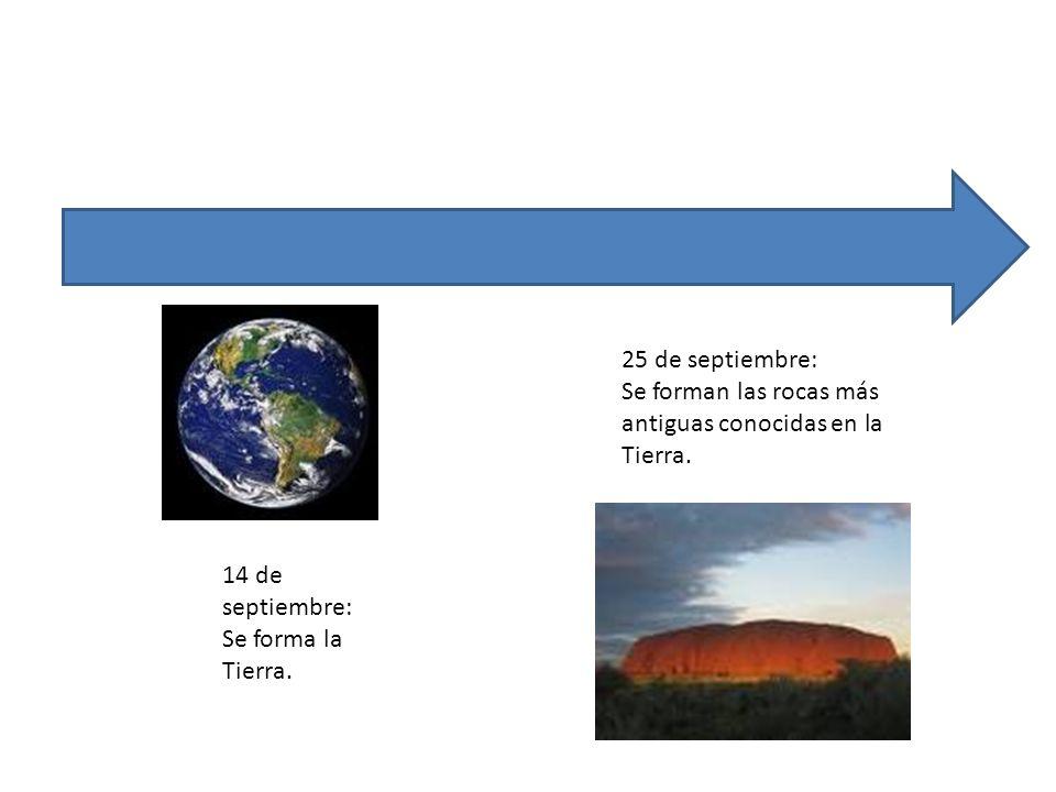 14 de septiembre: Se forma la Tierra. 25 de septiembre: Se forman las rocas más antiguas conocidas en la Tierra.