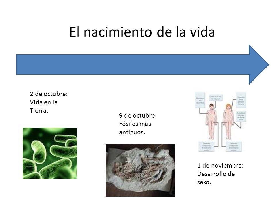 El nacimiento de la vida 2 de octubre: Vida en la Tierra. 9 de octubre: Fósiles más antiguos. 1 de noviembre: Desarrollo de sexo.