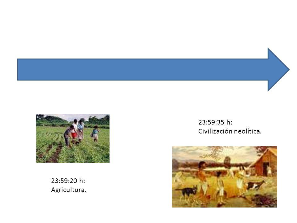23:59:20 h: Agricultura. 23:59:35 h: Civilización neolítica.