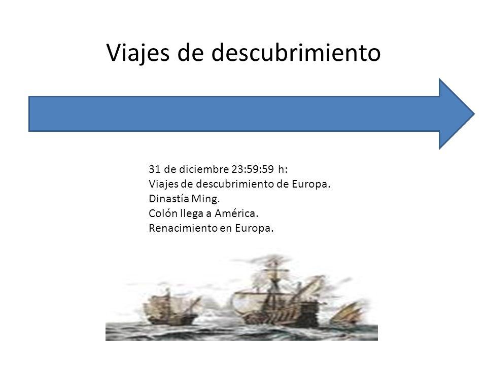 Viajes de descubrimiento 31 de diciembre 23:59:59 h: Viajes de descubrimiento de Europa. Dinastía Ming. Colón llega a América. Renacimiento en Europa.