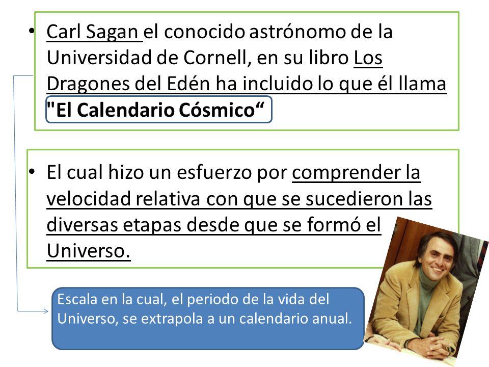 Carl Sagan el conocido astrónomo de la Universidad de Cornell, en su libro Los Dragones del Edén ha incluido lo que él llama