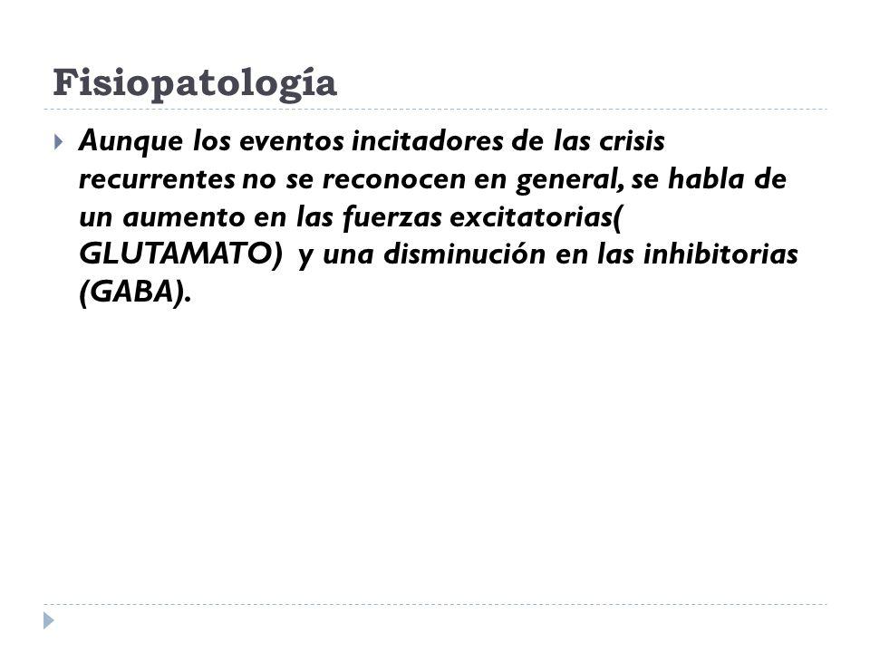 Fisiopatología Aunque los eventos incitadores de las crisis recurrentes no se reconocen en general, se habla de un aumento en las fuerzas excitatorias