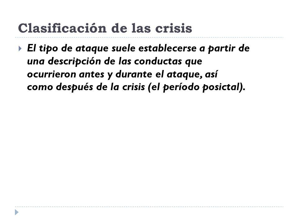Clasificación de las crisis El tipo de ataque suele establecerse a partir de una descripción de las conductas que ocurrieron antes y durante el ataque