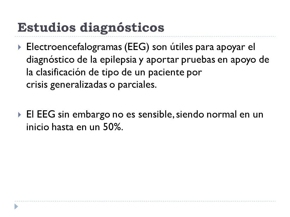 Estudios diagnósticos Electroencefalogramas (EEG) son útiles para apoyar el diagnóstico de la epilepsia y aportar pruebas en apoyo de la clasificación