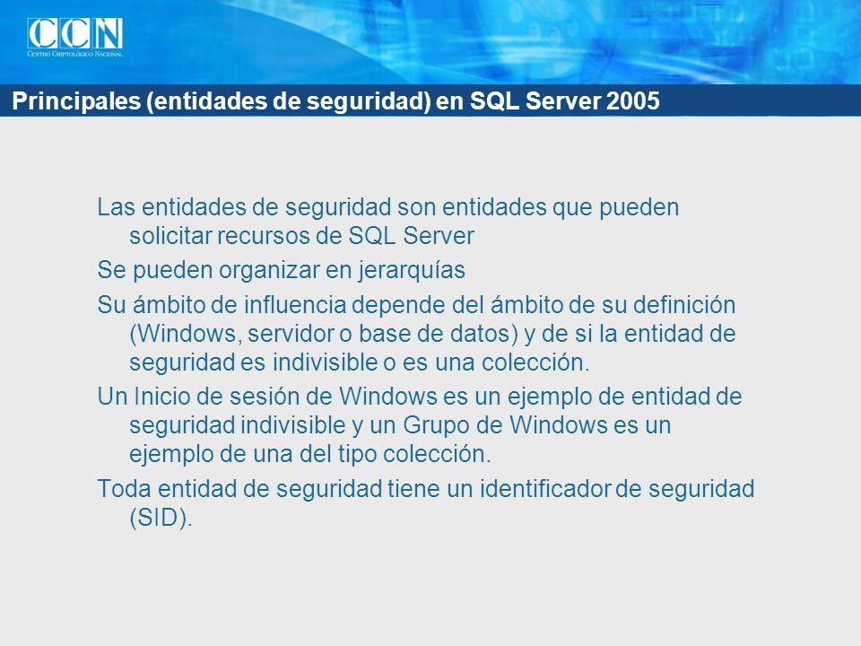 Principales (entidades de seguridad) en SQL Server 2005 Las entidades de seguridad son entidades que pueden solicitar recursos de SQL Server Se pueden organizar en jerarquías Su ámbito de influencia depende del ámbito de su definición (Windows, servidor o base de datos) y de si la entidad de seguridad es indivisible o es una colección.