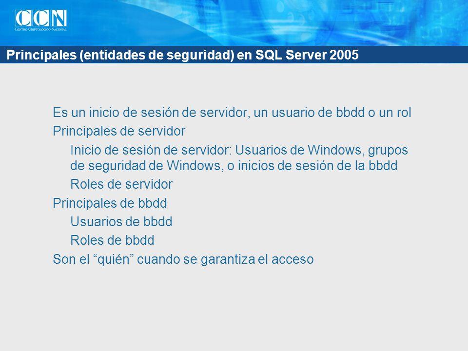 Principales (entidades de seguridad) en SQL Server 2005 Es un inicio de sesión de servidor, un usuario de bbdd o un rol Principales de servidor Inicio de sesión de servidor: Usuarios de Windows, grupos de seguridad de Windows, o inicios de sesión de la bbdd Roles de servidor Principales de bbdd Usuarios de bbdd Roles de bbdd Son el quién cuando se garantiza el acceso