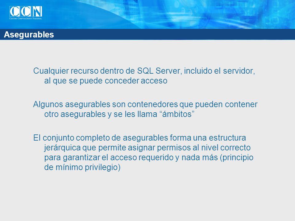 Asegurables Cualquier recurso dentro de SQL Server, incluido el servidor, al que se puede conceder acceso Algunos asegurables son contenedores que pueden contener otro asegurables y se les llama ámbitos El conjunto completo de asegurables forma una estructura jerárquica que permite asignar permisos al nivel correcto para garantizar el acceso requerido y nada más (principio de mínimo privilegio)