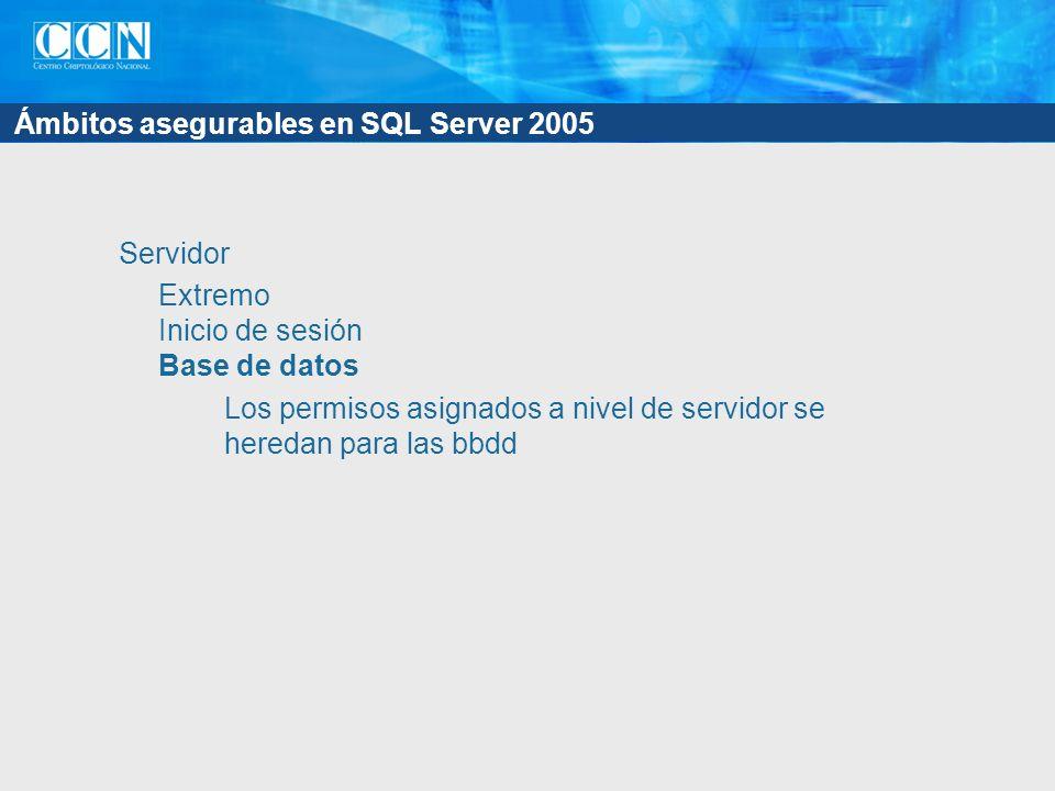 Ámbitos asegurables en SQL Server 2005 Servidor Extremo Inicio de sesión Base de datos Los permisos asignados a nivel de servidor se heredan para las bbdd