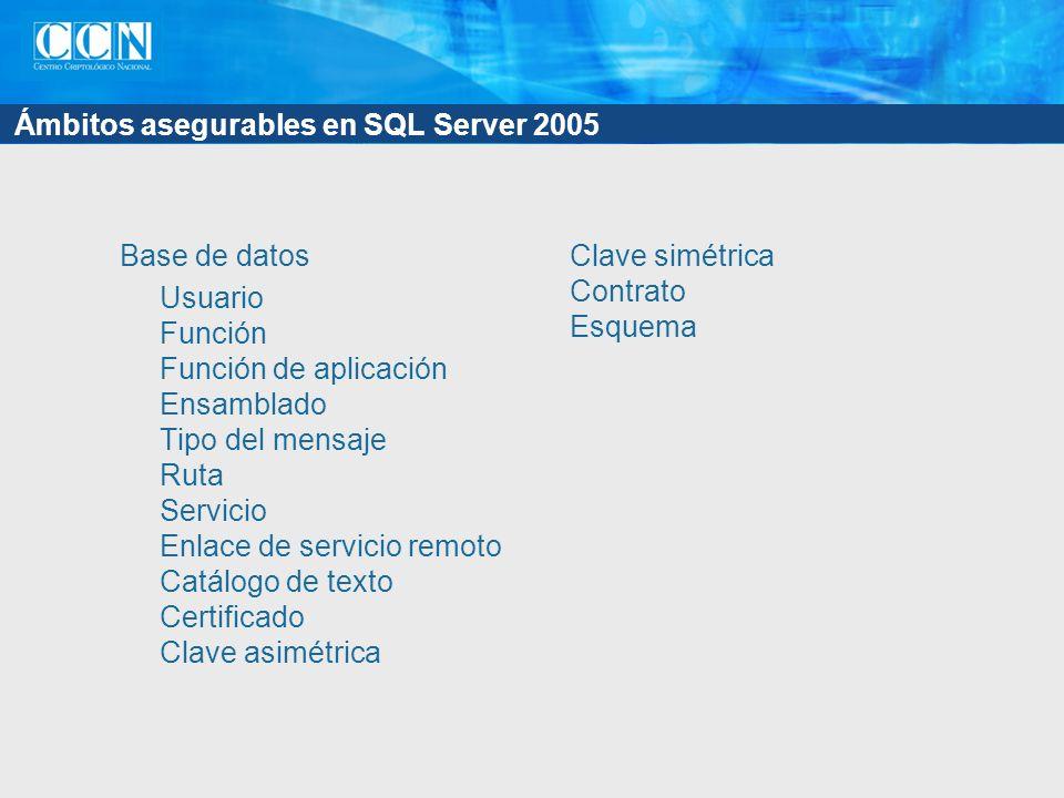 Ámbitos asegurables en SQL Server 2005 Base de datos Usuario Función Función de aplicación Ensamblado Tipo del mensaje Ruta Servicio Enlace de servicio remoto Catálogo de texto Certificado Clave asimétrica Clave simétrica Contrato Esquema