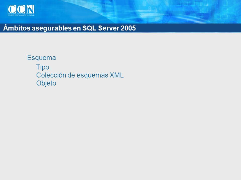 Ámbitos asegurables en SQL Server 2005 Esquema Tipo Colección de esquemas XML Objeto