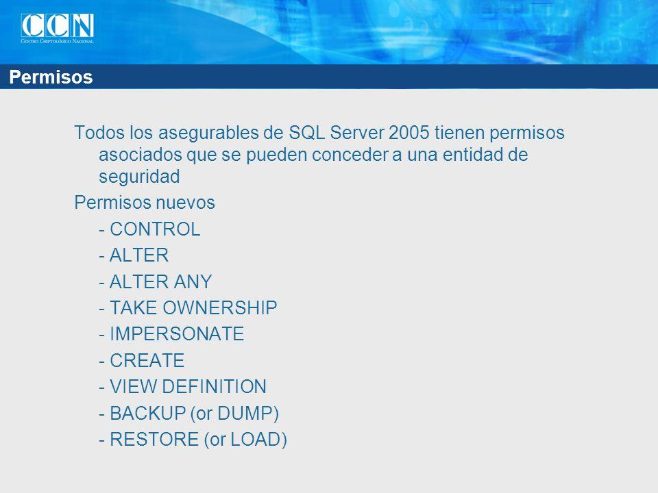 Permisos Todos los asegurables de SQL Server 2005 tienen permisos asociados que se pueden conceder a una entidad de seguridad Permisos nuevos - CONTRO
