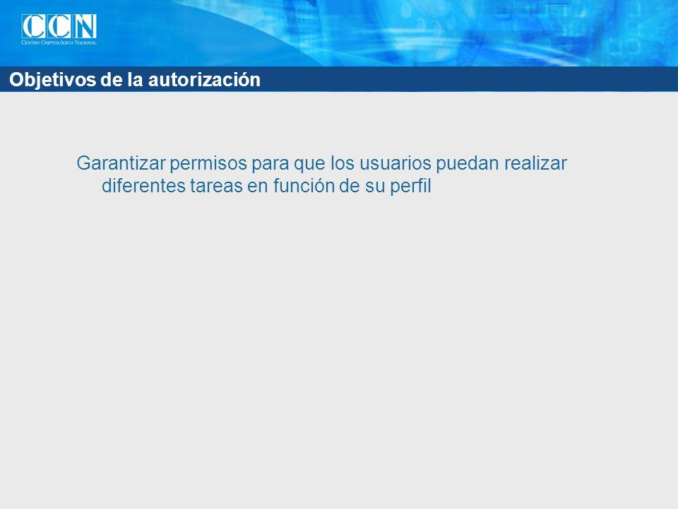 Objetivos de la autorización Garantizar permisos para que los usuarios puedan realizar diferentes tareas en función de su perfil