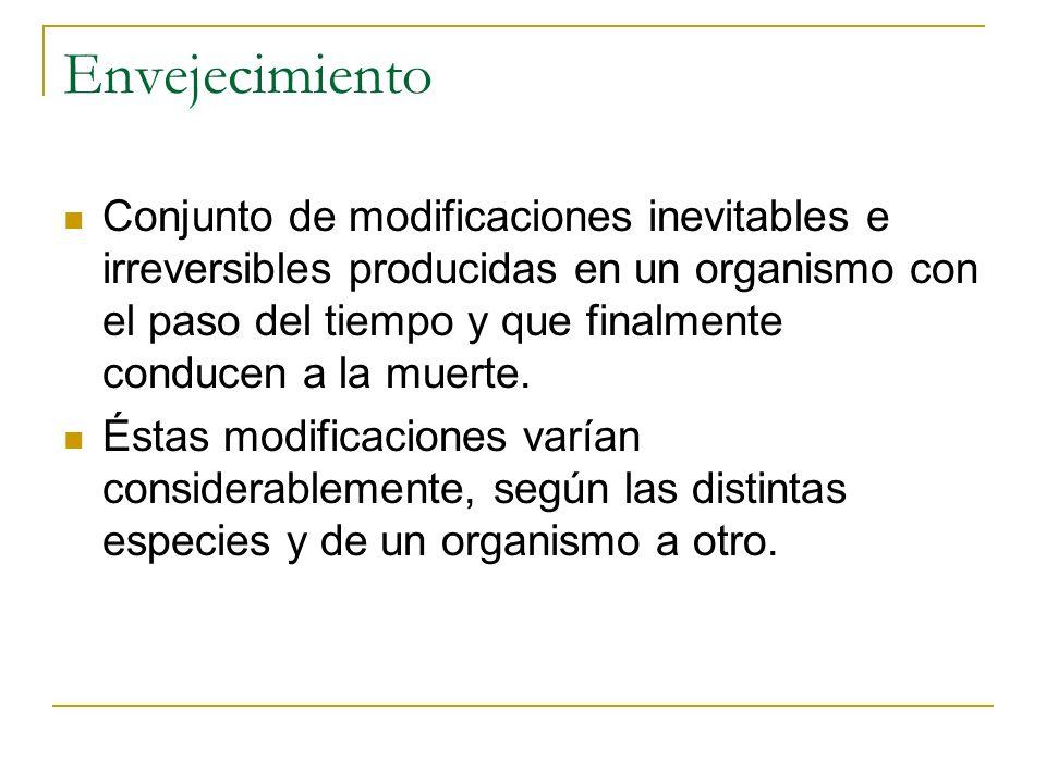 Conjunto de modificaciones inevitables e irreversibles producidas en un organismo con el paso del tiempo y que finalmente conducen a la muerte. Éstas