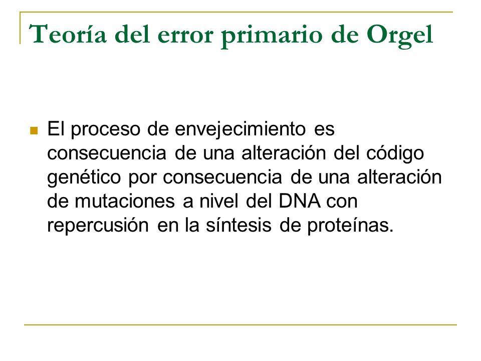 Teoría del error primario de Orgel El proceso de envejecimiento es consecuencia de una alteración del código genético por consecuencia de una alteraci
