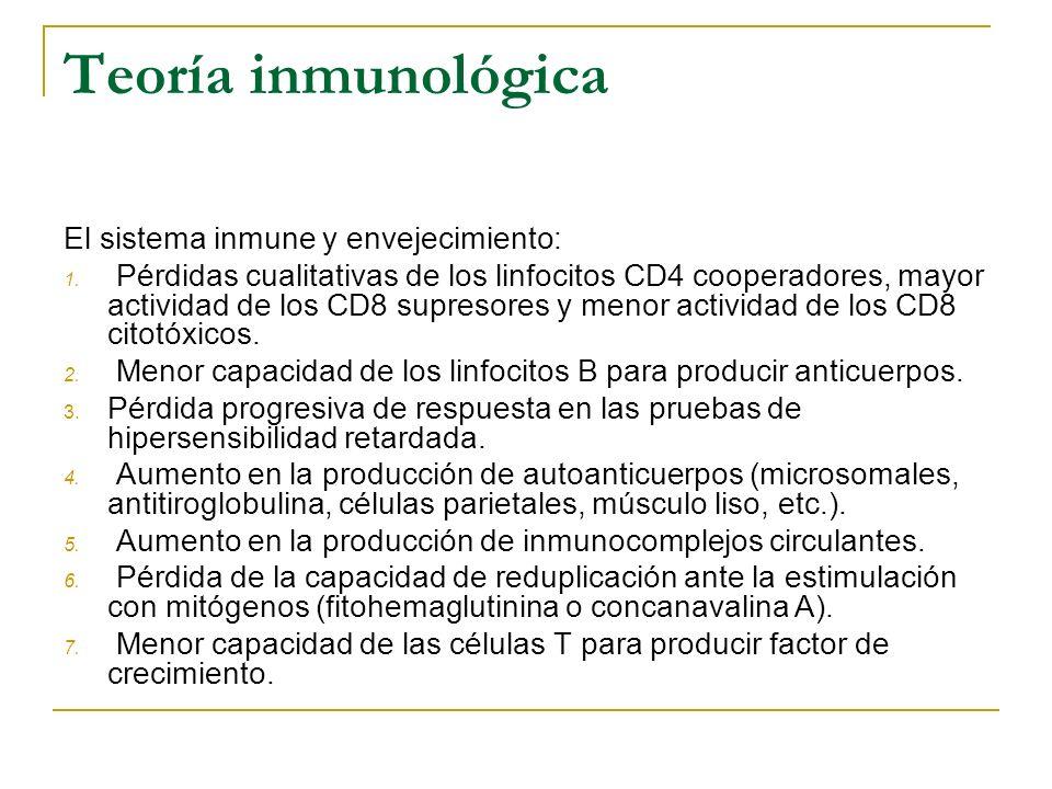 Teoría inmunológica El sistema inmune y envejecimiento: 1. Pérdidas cualitativas de los linfocitos CD4 cooperadores, mayor actividad de los CD8 supres