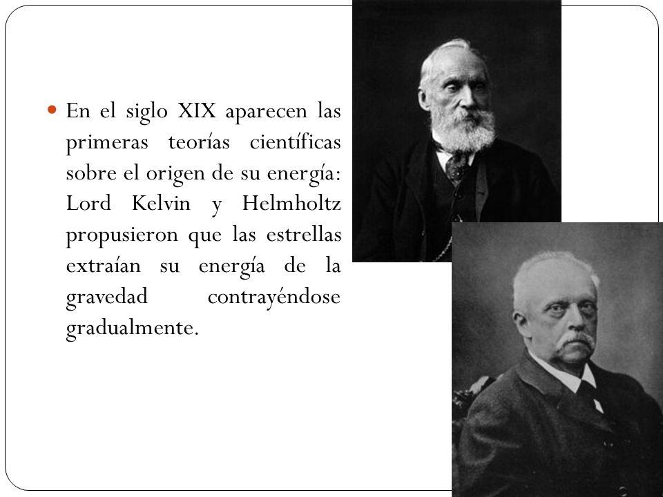En el siglo XIX aparecen las primeras teorías científicas sobre el origen de su energía: Lord Kelvin y Helmholtz propusieron que las estrellas extraía