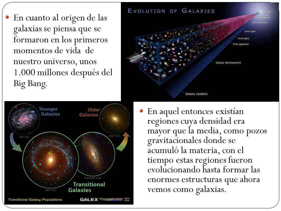En cuanto al origen de las galaxias se piensa que se formaron en los primeros momentos de vida de nuestro universo, unos 1.000 millones después del Bi