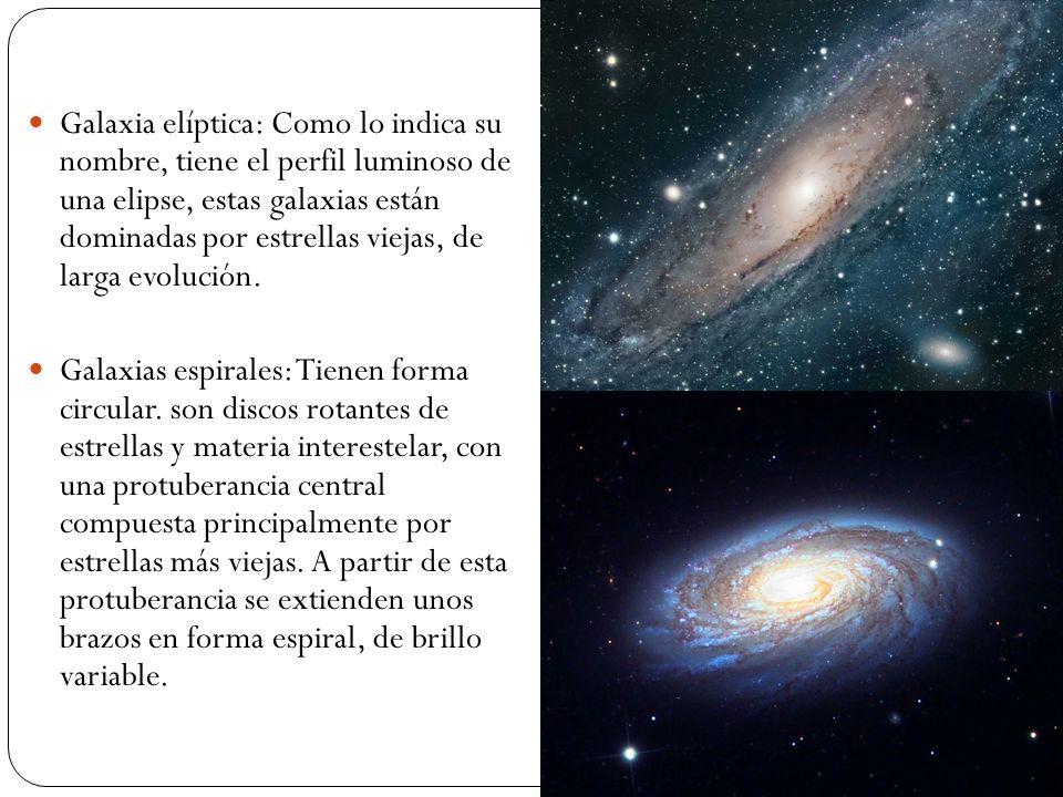 Galaxia elíptica: Como lo indica su nombre, tiene el perfil luminoso de una elipse, estas galaxias están dominadas por estrellas viejas, de larga evol