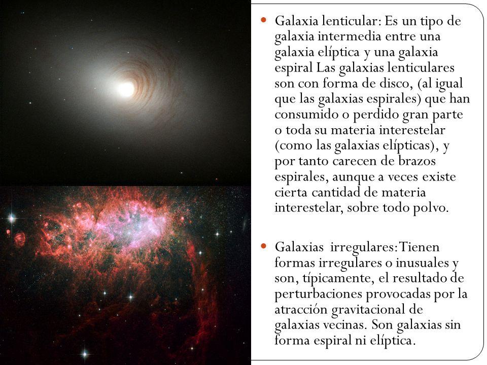 Galaxia lenticular: Es un tipo de galaxia intermedia entre una galaxia elíptica y una galaxia espiral Las galaxias lenticulares son con forma de disco