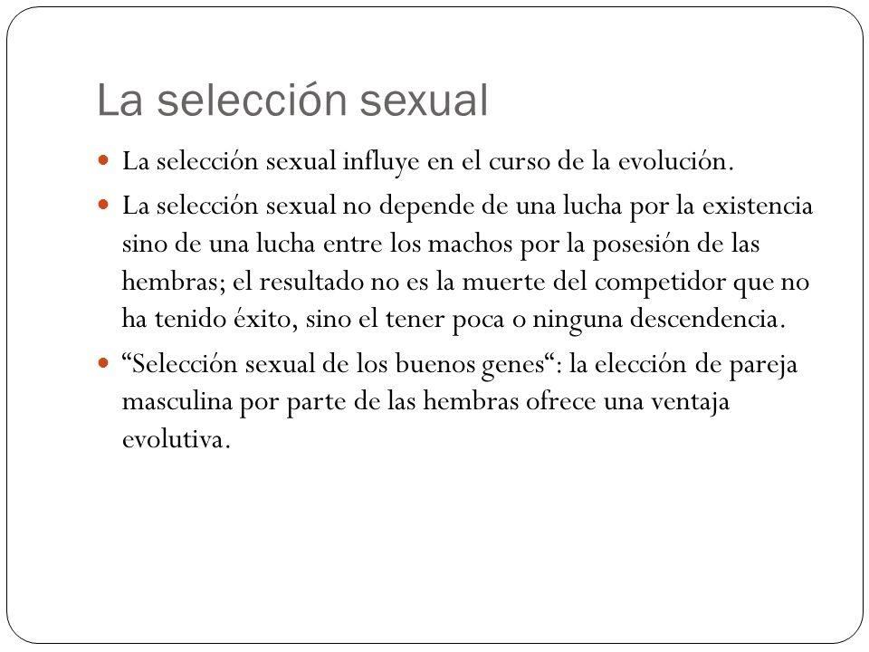 La selección sexual La selección sexual influye en el curso de la evolución. La selección sexual no depende de una lucha por la existencia sino de una