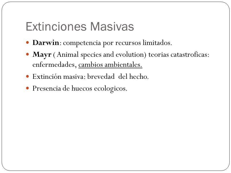 Darwin: competencia por recursos limitados. Mayr ( Animal species and evolution) teorias catastroficas: enfermedades, cambios ambientales. Extinción m