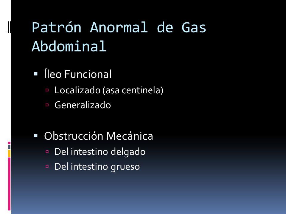 Patrón Anormal de Gas Abdominal Íleo Funcional Localizado (asa centinela) Generalizado Obstrucción Mecánica Del intestino delgado Del intestino grueso