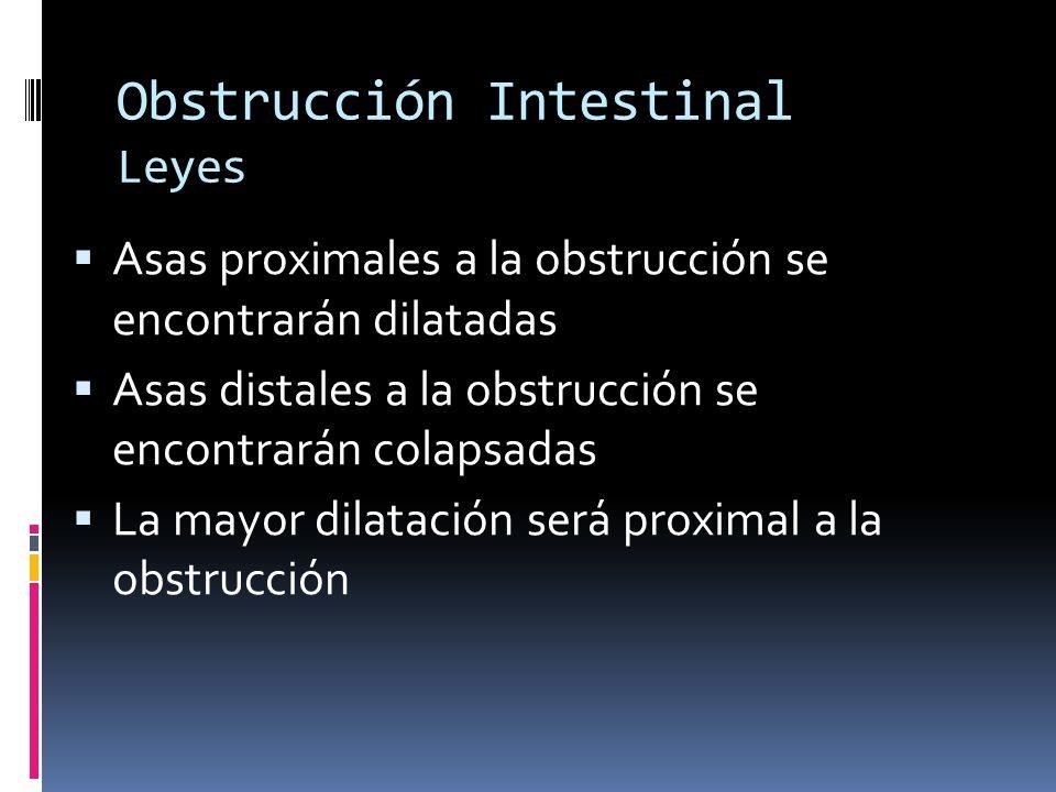 Obstrucción Intestinal Leyes Asas proximales a la obstrucción se encontrarán dilatadas Asas distales a la obstrucción se encontrarán colapsadas La may