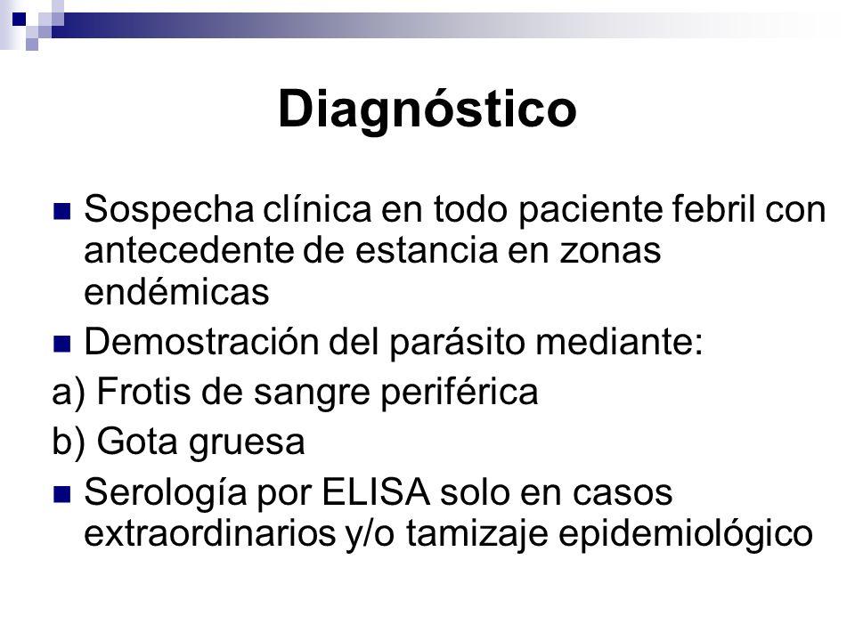 Diagnóstico Sospecha clínica en todo paciente febril con antecedente de estancia en zonas endémicas Demostración del parásito mediante: a) Frotis de s