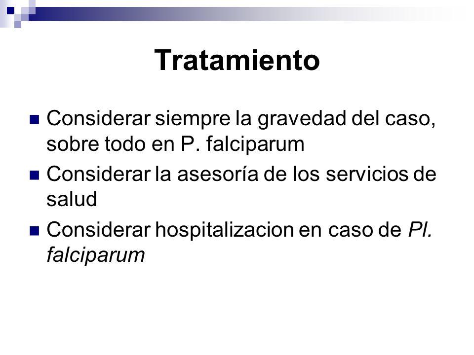 Tratamiento Considerar siempre la gravedad del caso, sobre todo en P. falciparum Considerar la asesoría de los servicios de salud Considerar hospitali