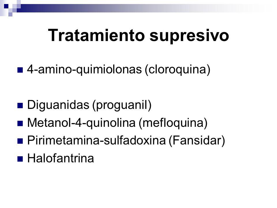 Tratamiento supresivo 4-amino-quimiolonas (cloroquina) Diguanidas (proguanil) Metanol-4-quinolina (mefloquina) Pirimetamina-sulfadoxina (Fansidar) Hal