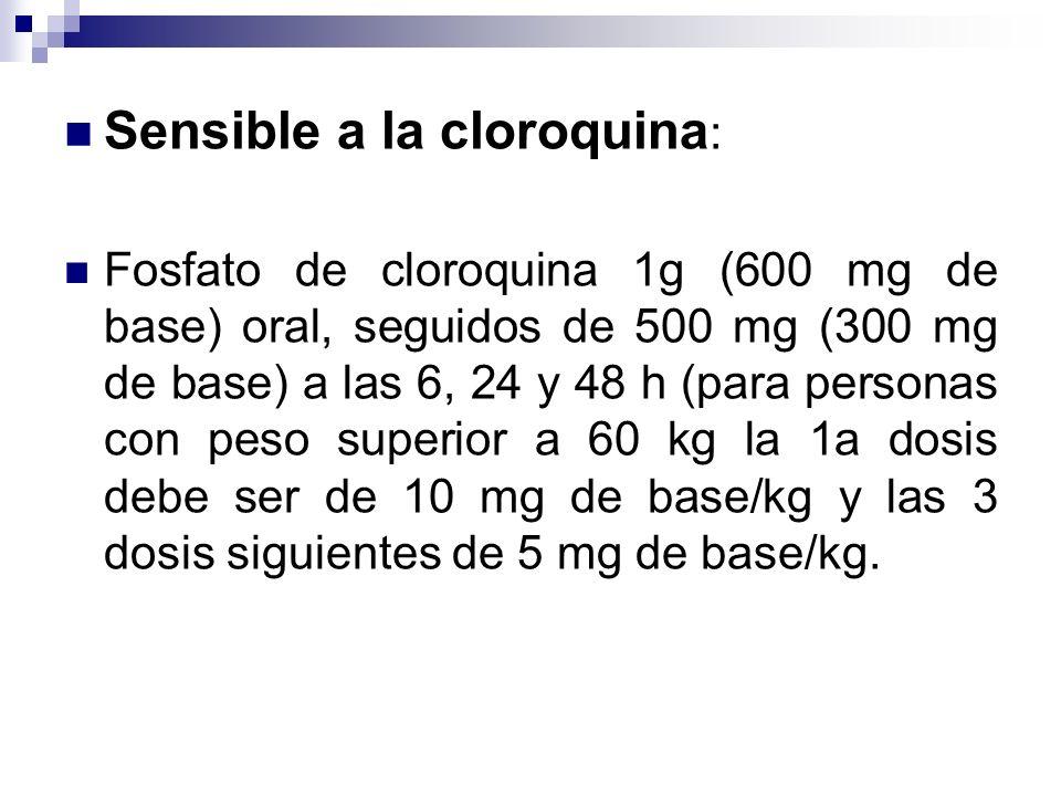 Sensible a la cloroquina : Fosfato de cloroquina 1g (600 mg de base) oral, seguidos de 500 mg (300 mg de base) a las 6, 24 y 48 h (para personas con p