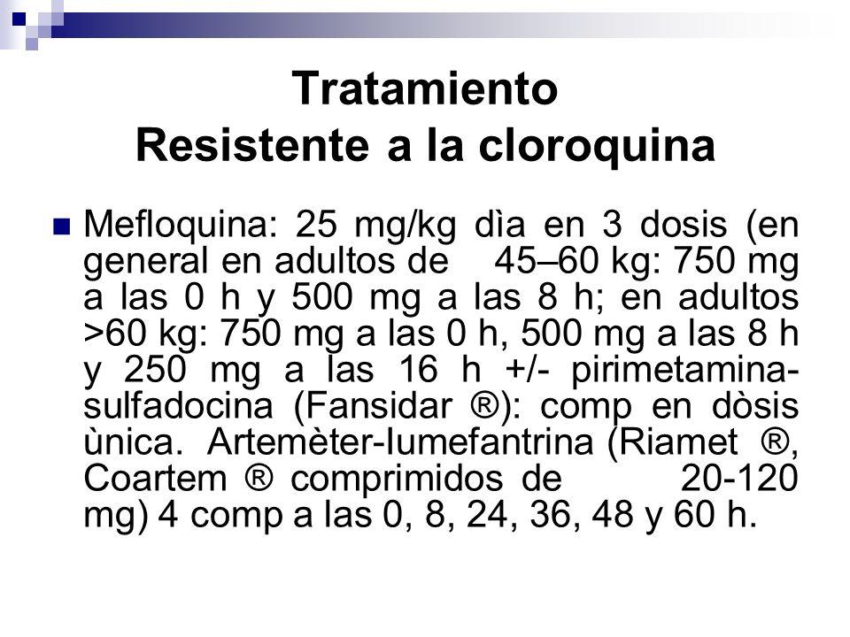 Mefloquina: 25 mg/kg dìa en 3 dosis (en general en adultos de 45–60 kg: 750 mg a las 0 h y 500 mg a las 8 h; en adultos >60 kg: 750 mg a las 0 h, 500